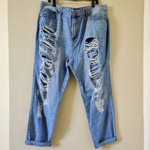 F21 High Rise Boyfriend Jeans